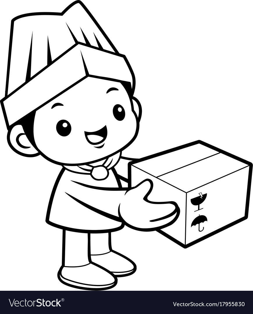 Black and white cartoon cook mascot move the box vector image