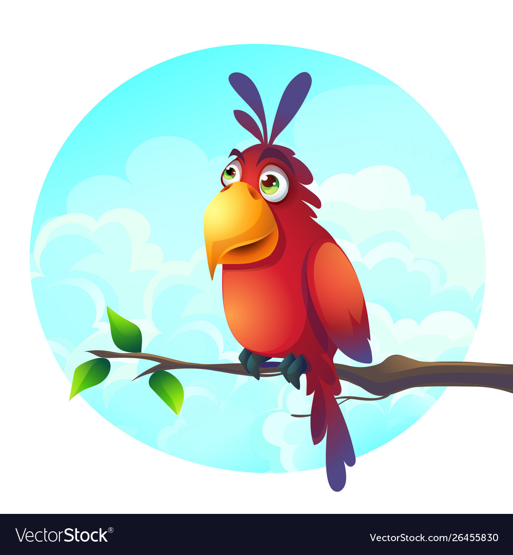 Cartoon a funny parrot on a