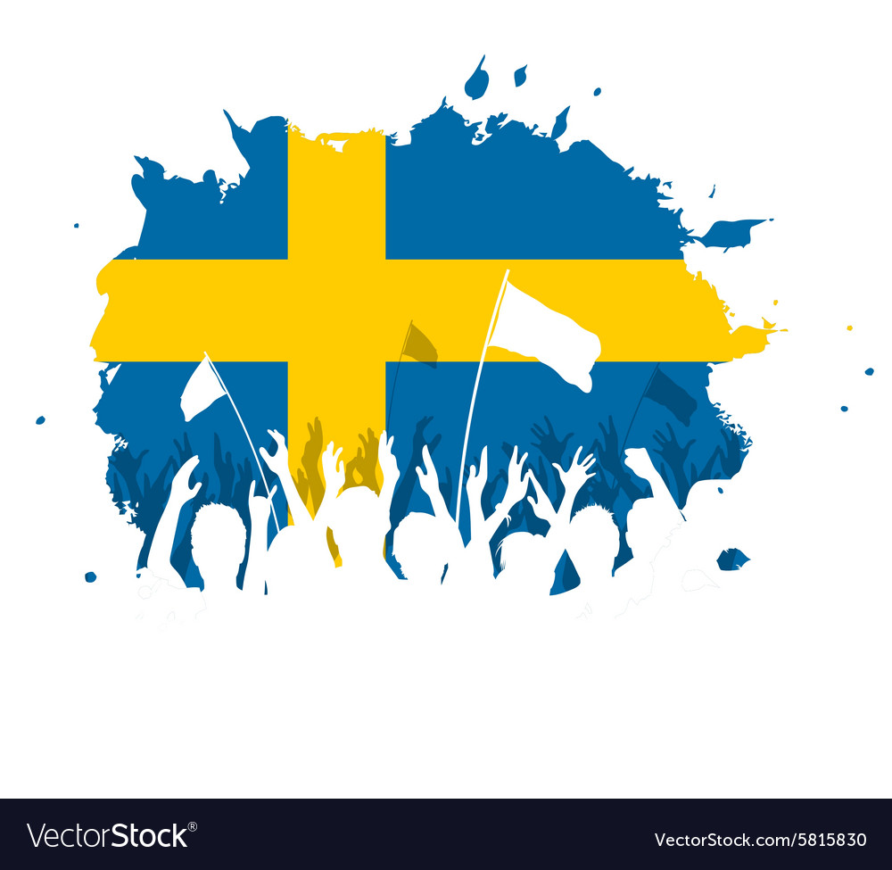Celebrating Crowd with Sweden flag
