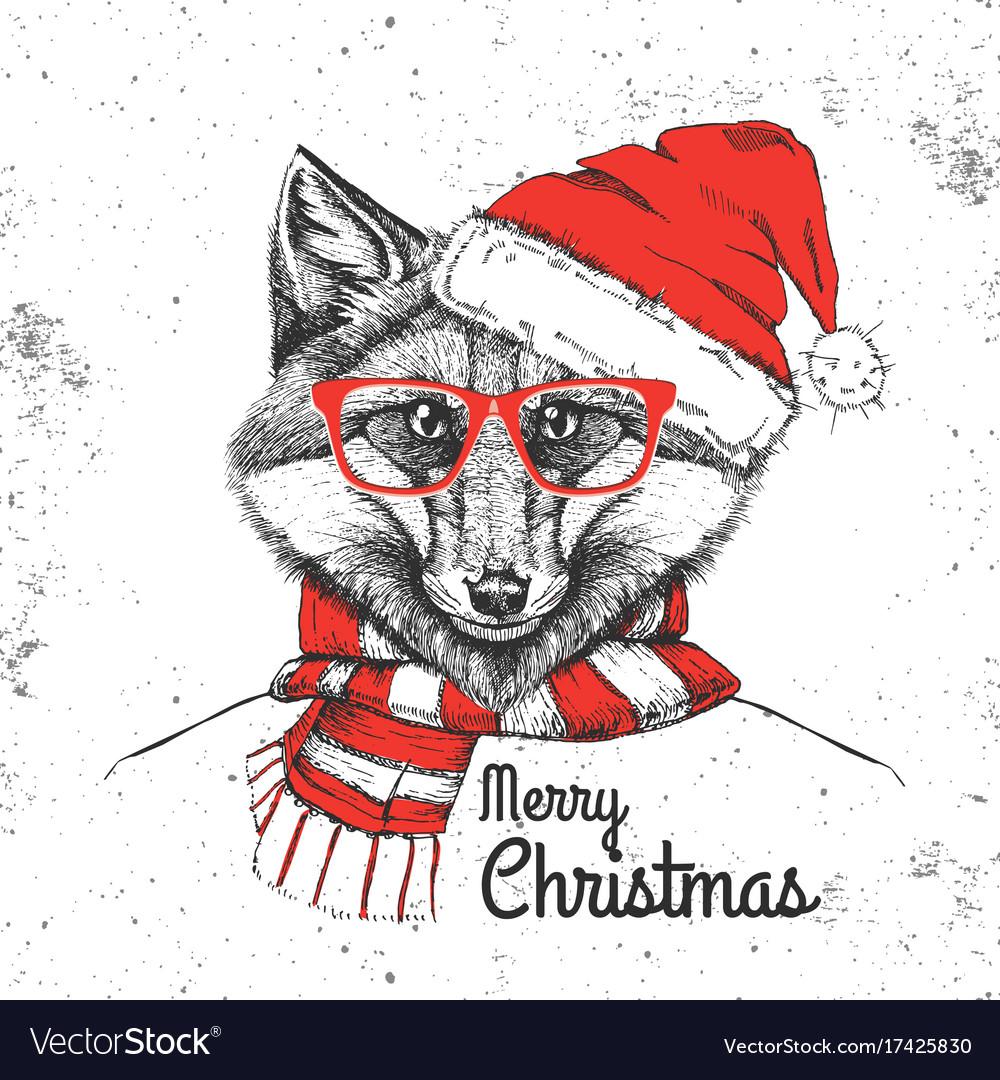 Christmas hipster fashion animal fox