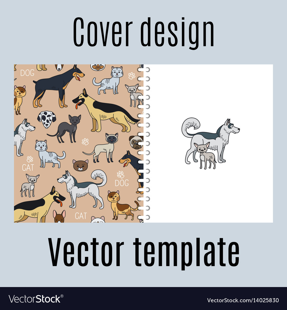 Cover with cats and dogs pattern