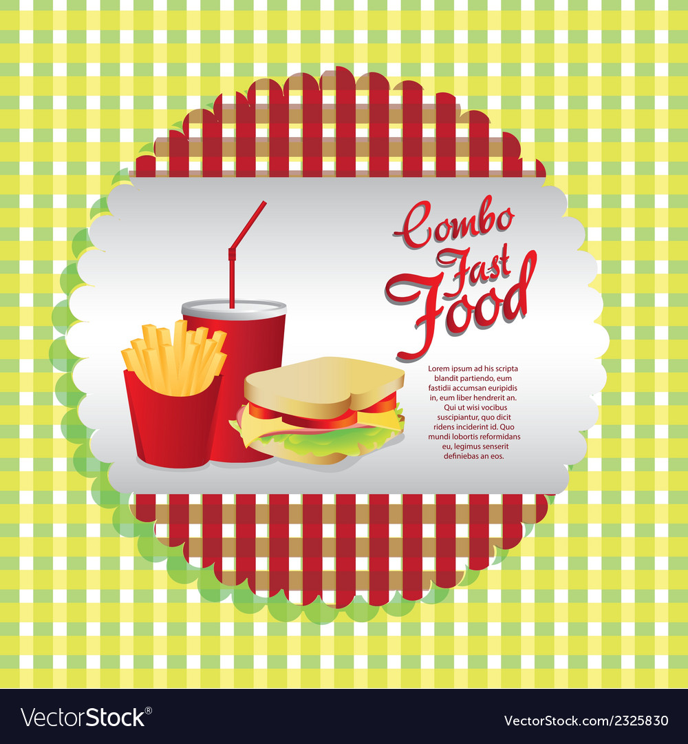 labels fast food combo with a french fries soda an