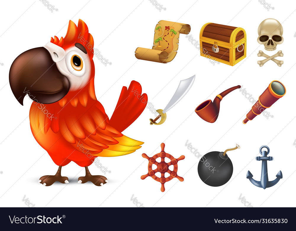 Sea pirate icon set with cute red ara parrot