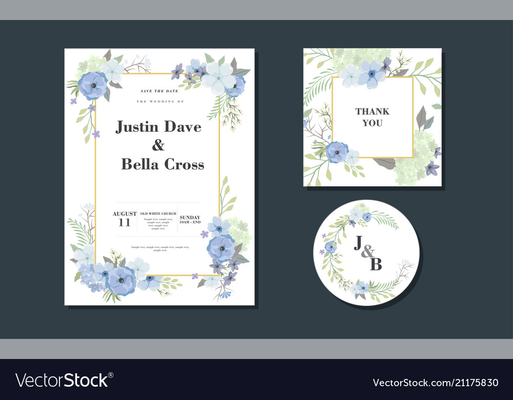 Set card with flowers composition card vector