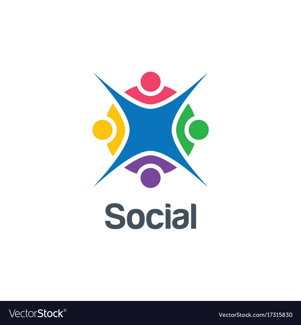 Social group colorful happy logo