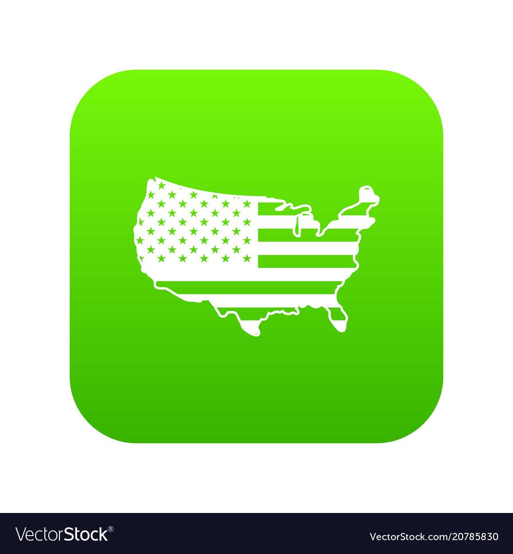 Usa map icon digital green vector image