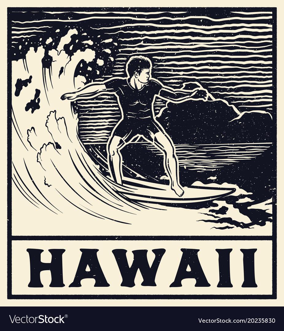 Vintage surf print tee graphic design