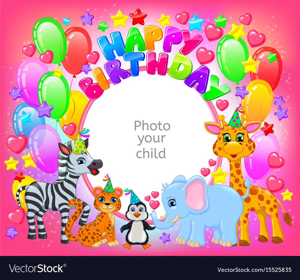 Birthday party cute animal pink frame your baby