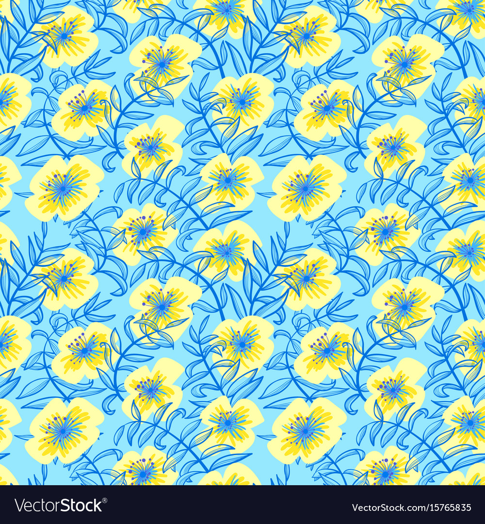 Floral seamless pattern in doodle style