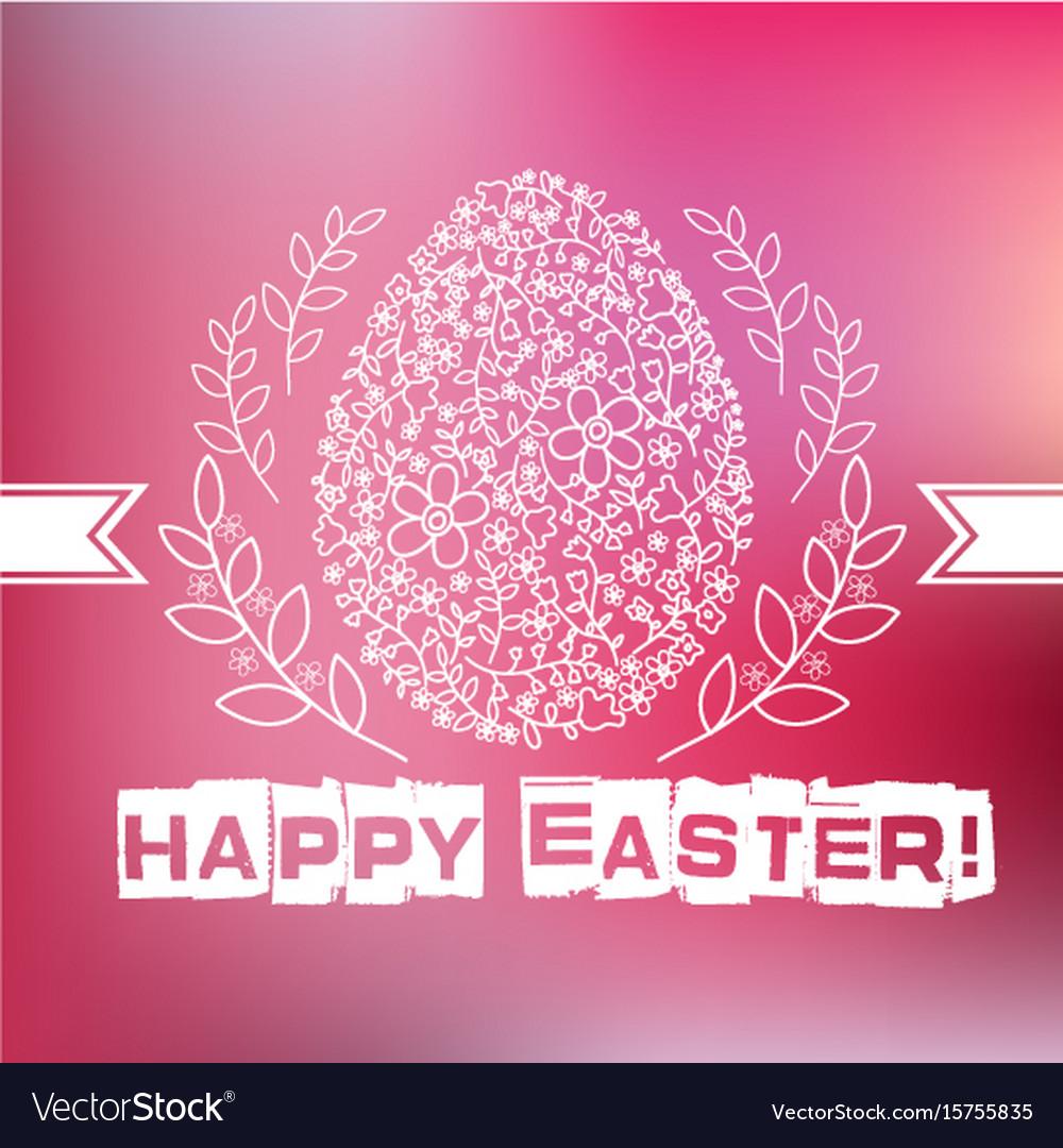 Floral white easter egg on pink background