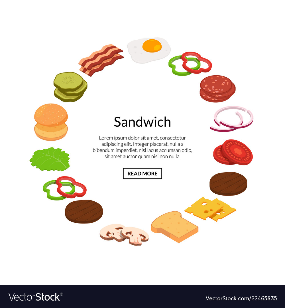 Isometric burger ingredients