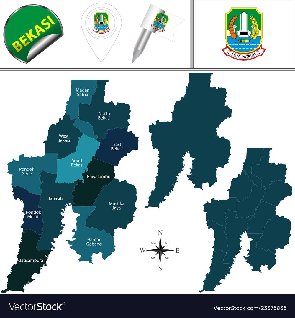 Map Of Bekasi Indonesia Royalty Free Vector Image