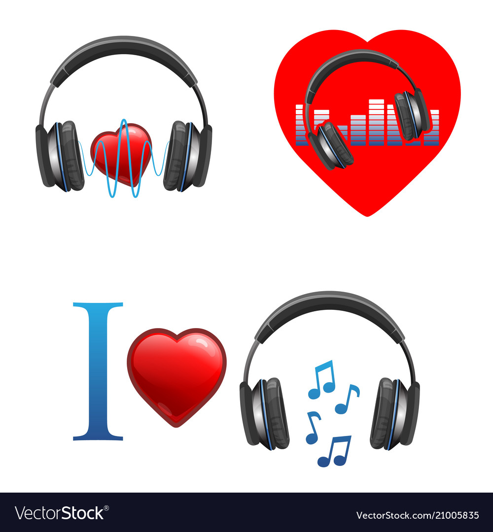 Music themed promo emblems with headphones and
