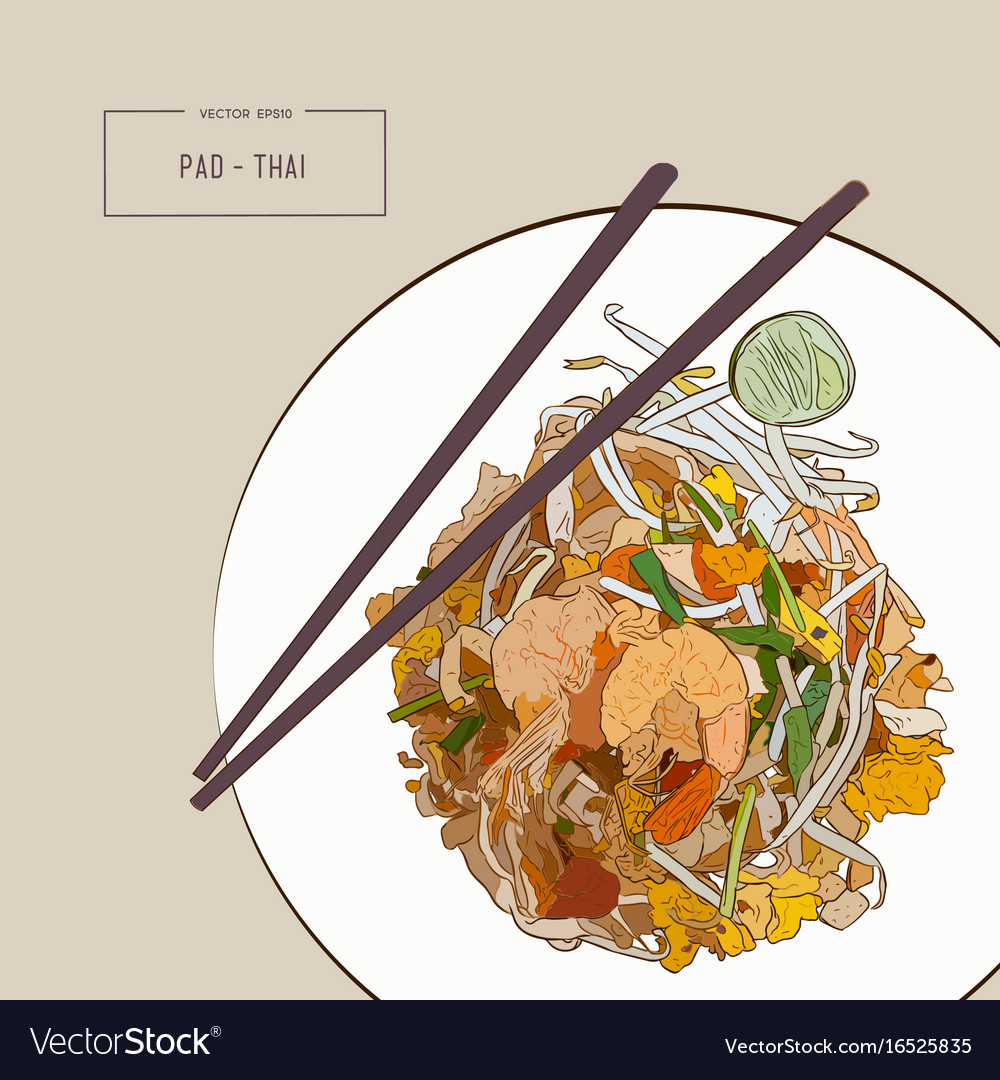 Pat thai stir-fried rice noodle local thailand vector image