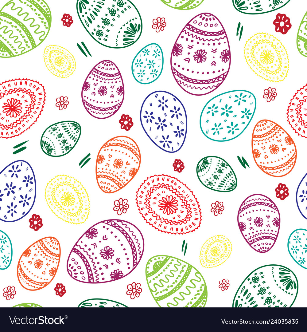Seamless simple pattern with ornamental egg