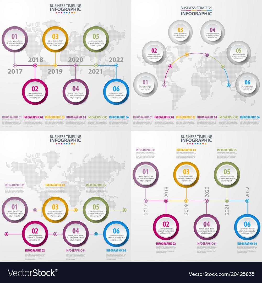 Set of business timeline infographics and design