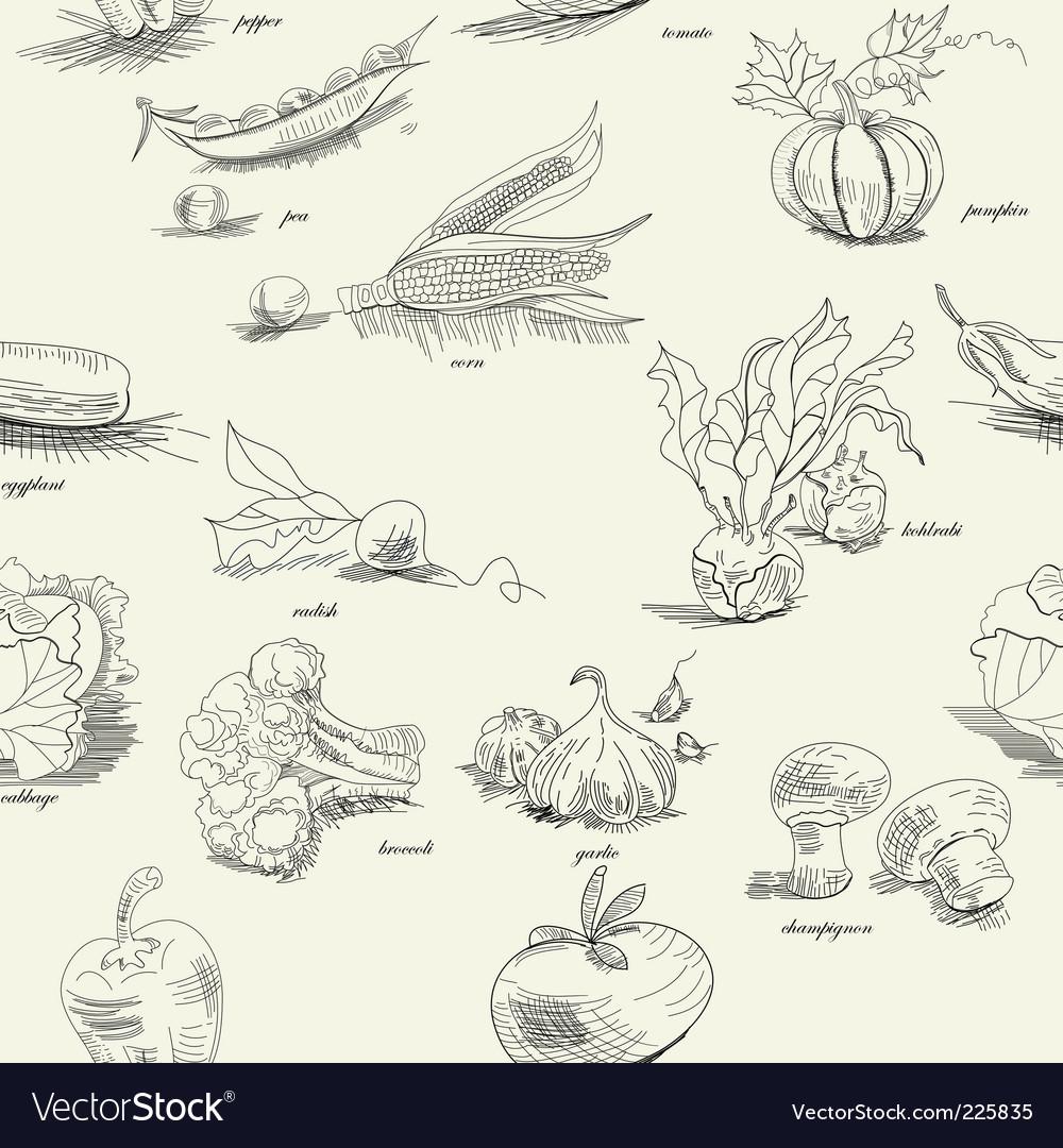 Vegetable pattern vector image
