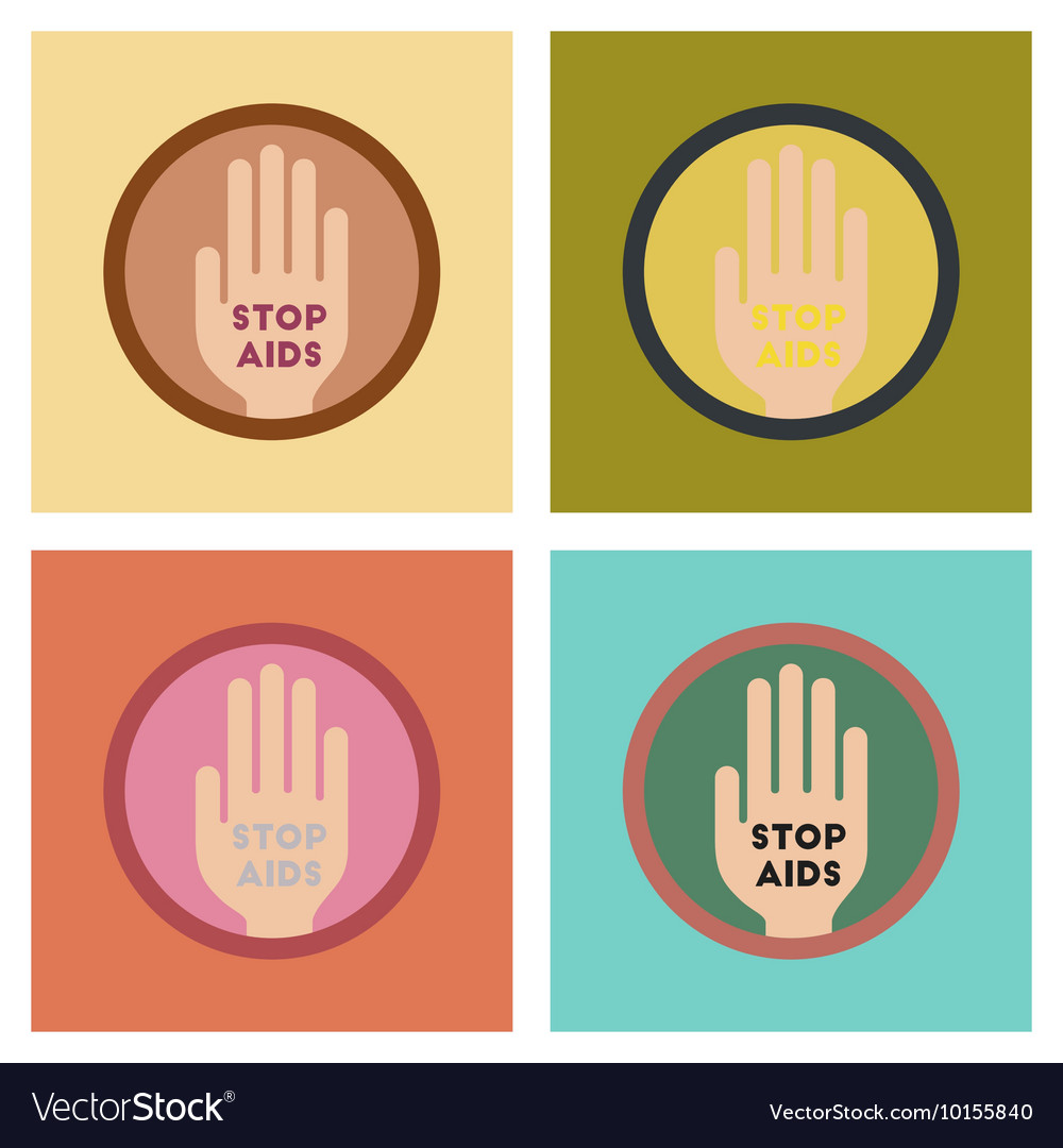 Assembly flat icons Stop AIDS symbol