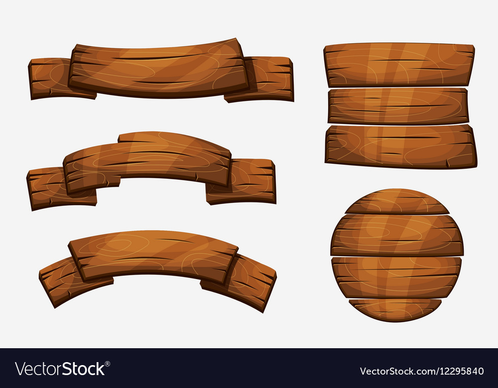 Cartoon Wooden Plank Signs Wood Banner Vector Image