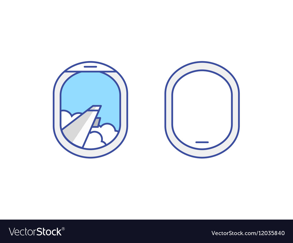 Closed and open airplane window icons set