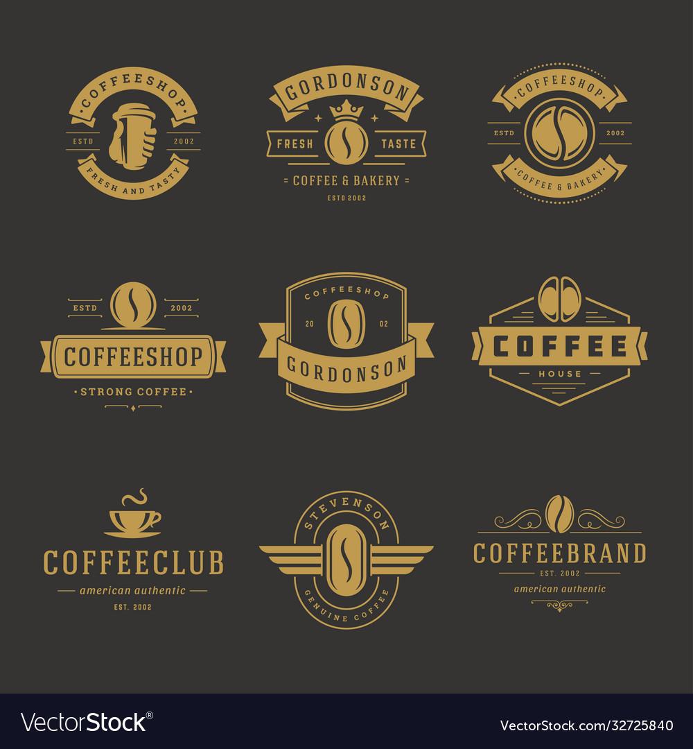 Coffee Shop Logos Design Templates Set Royalty Free Vector