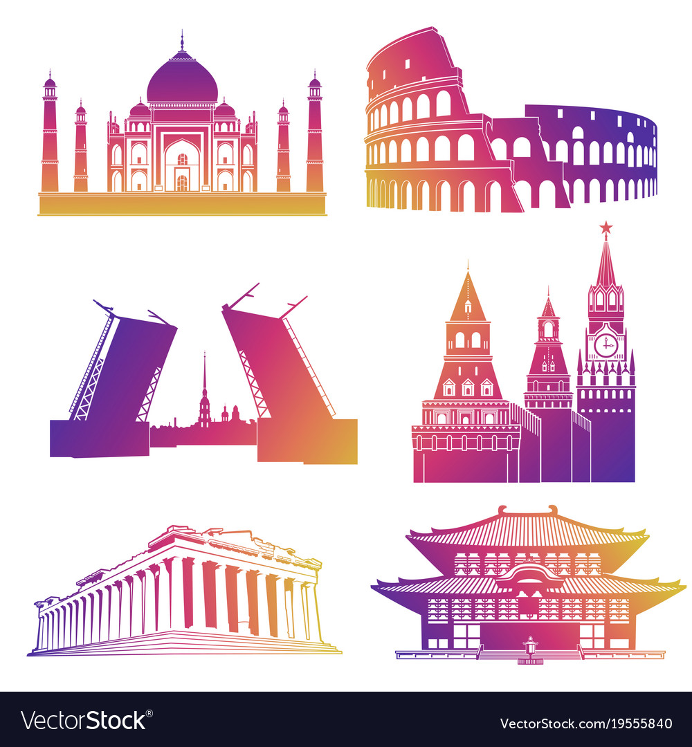 Famous landmarks silhouettes icons
