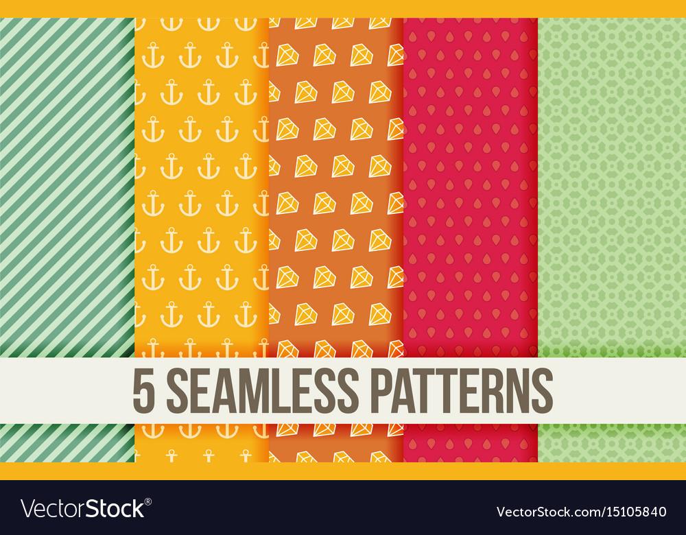 Five seamless geometric patterns