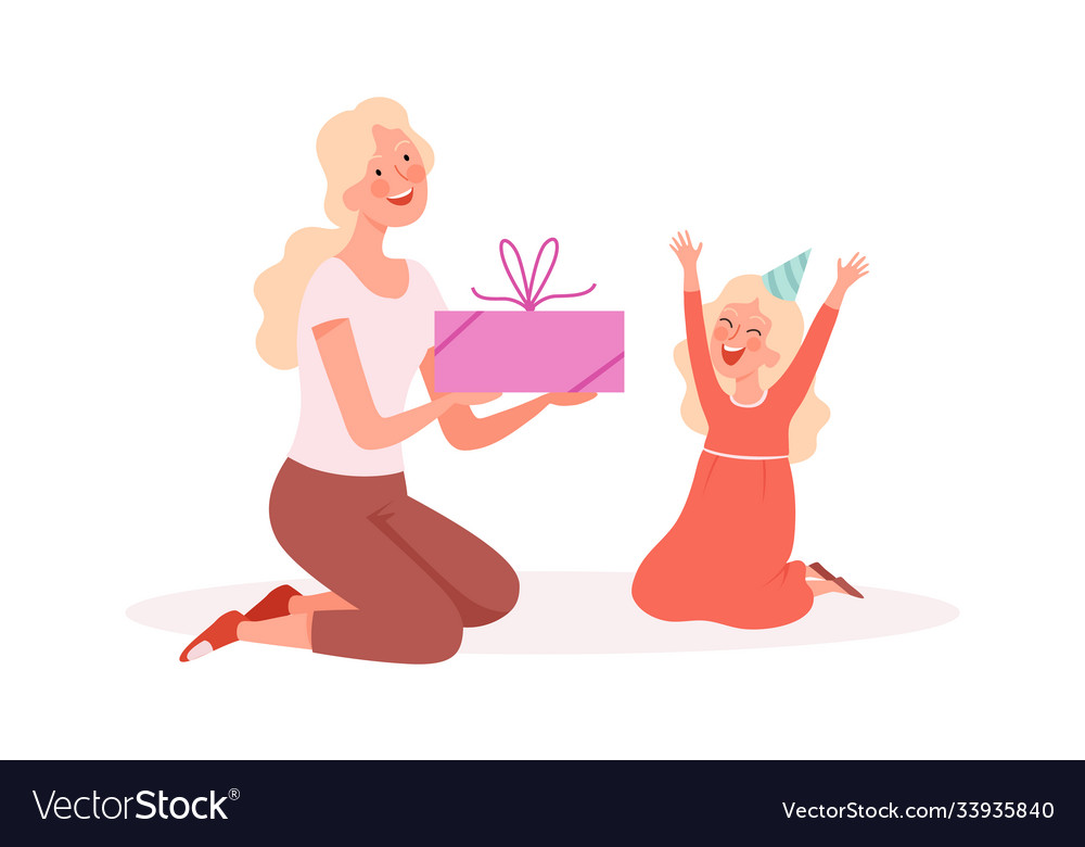 Happy girl woman giving gift to daughter