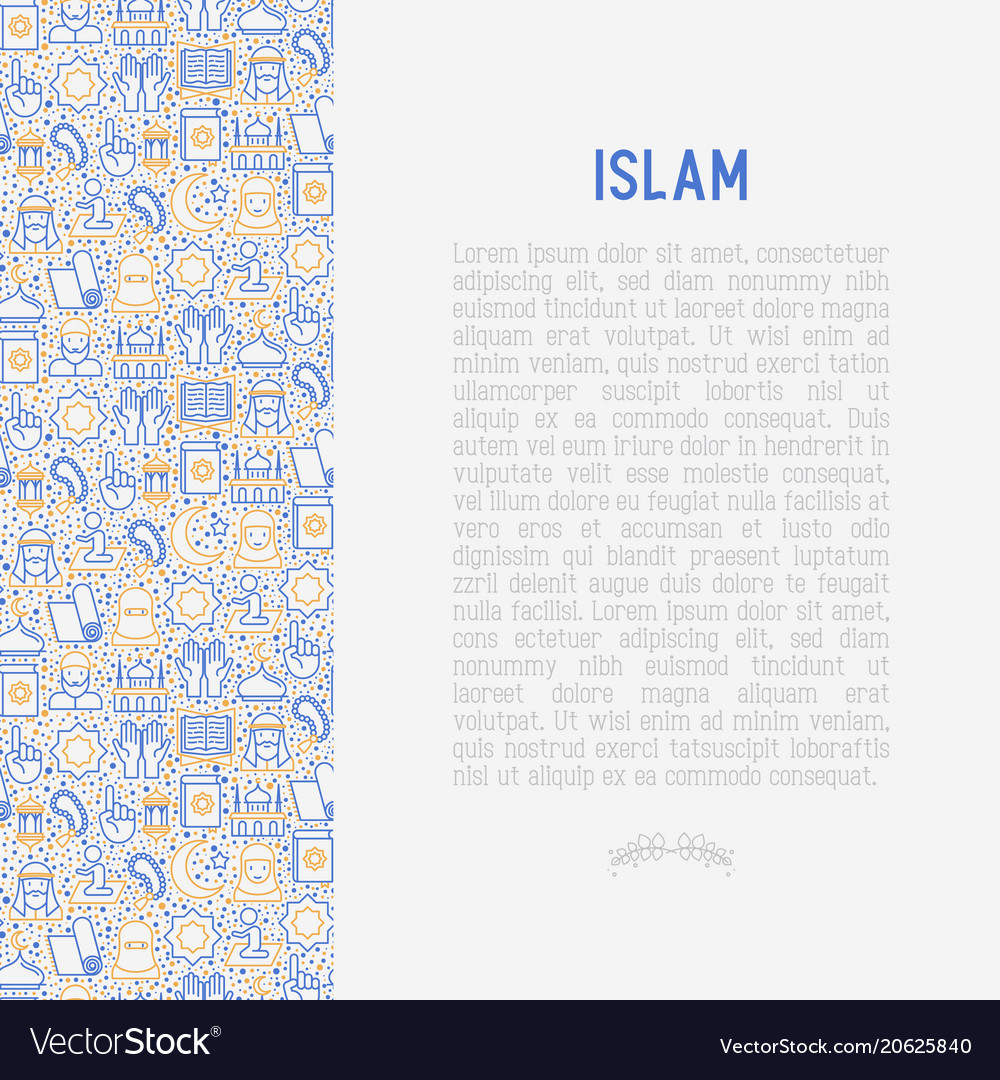 Islamic concept with thin line icons