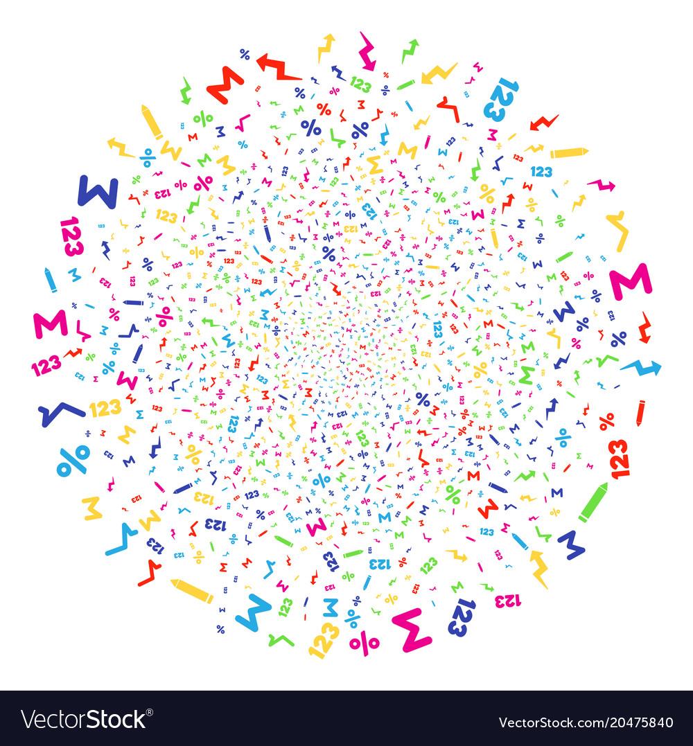 Math Symbols Explosion Sphere Royalty Free Vector Image