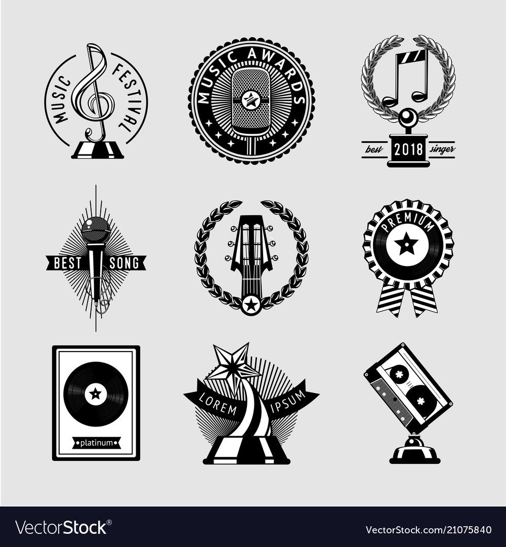 Music awards vintage set musical prize vector image