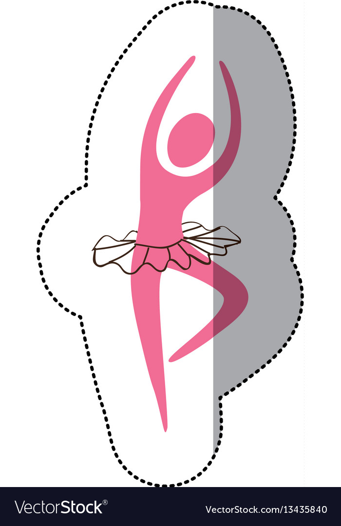 Pink woman practicing ballet icon vector image