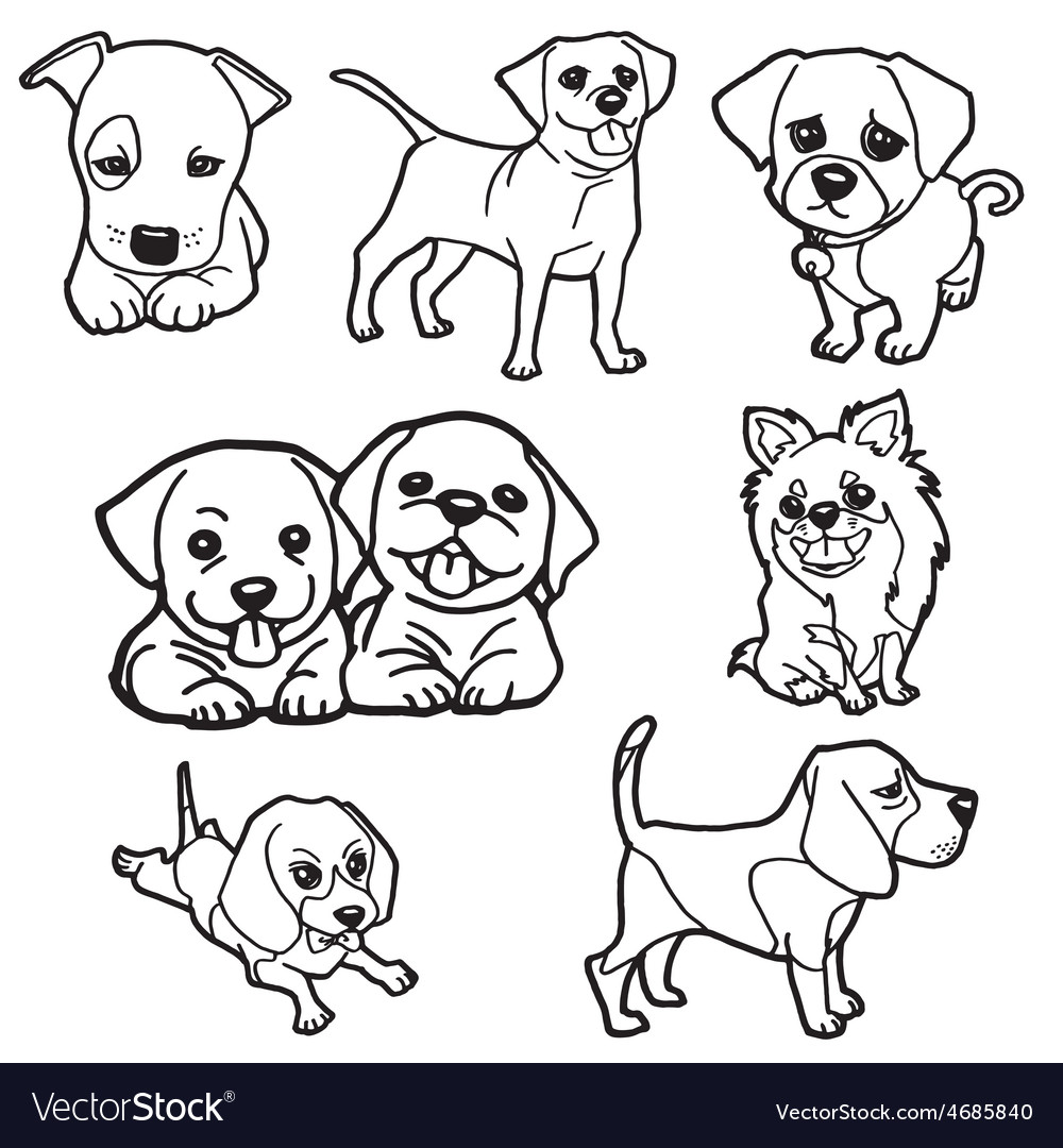 Puppy coloring book set Royalty Free Vector Image