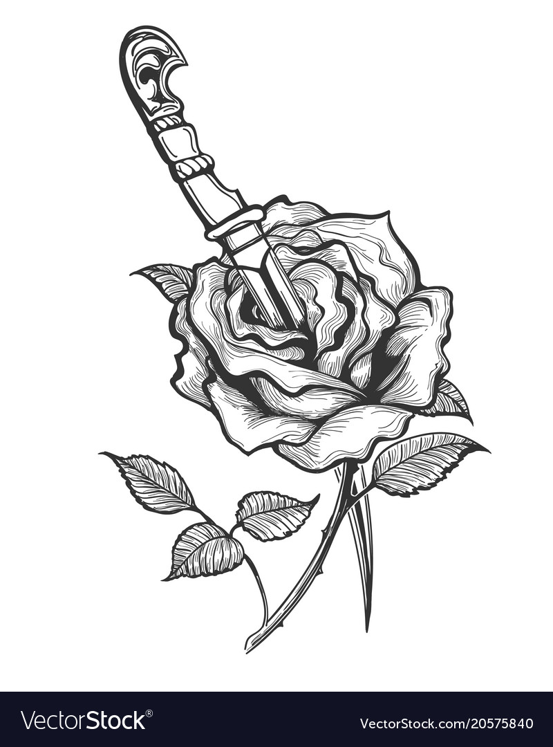 Rose flower piersed by dagger tattoo