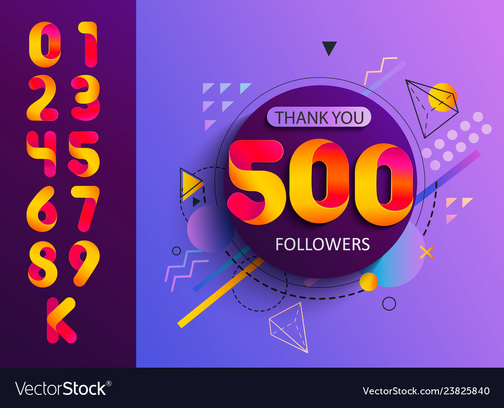 Set numbers for thanks followers template design