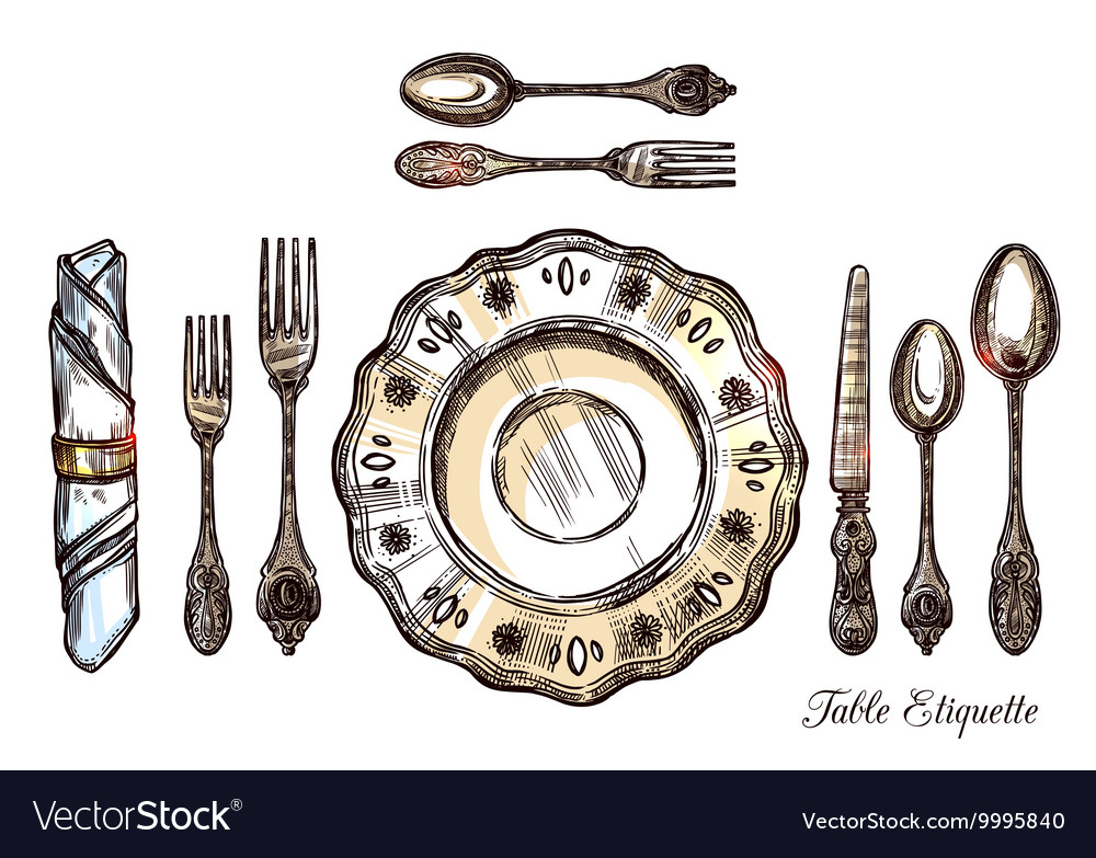 Table Etiquette Hand Drawn vector image