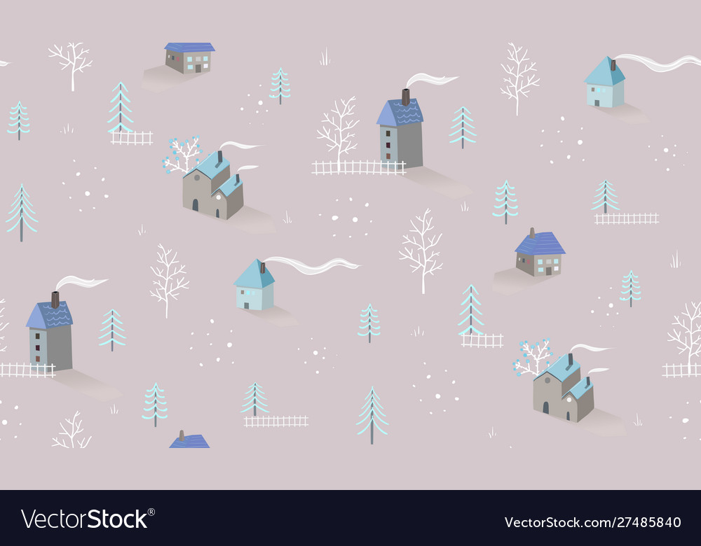 Winter holiday village houses seamless pattern