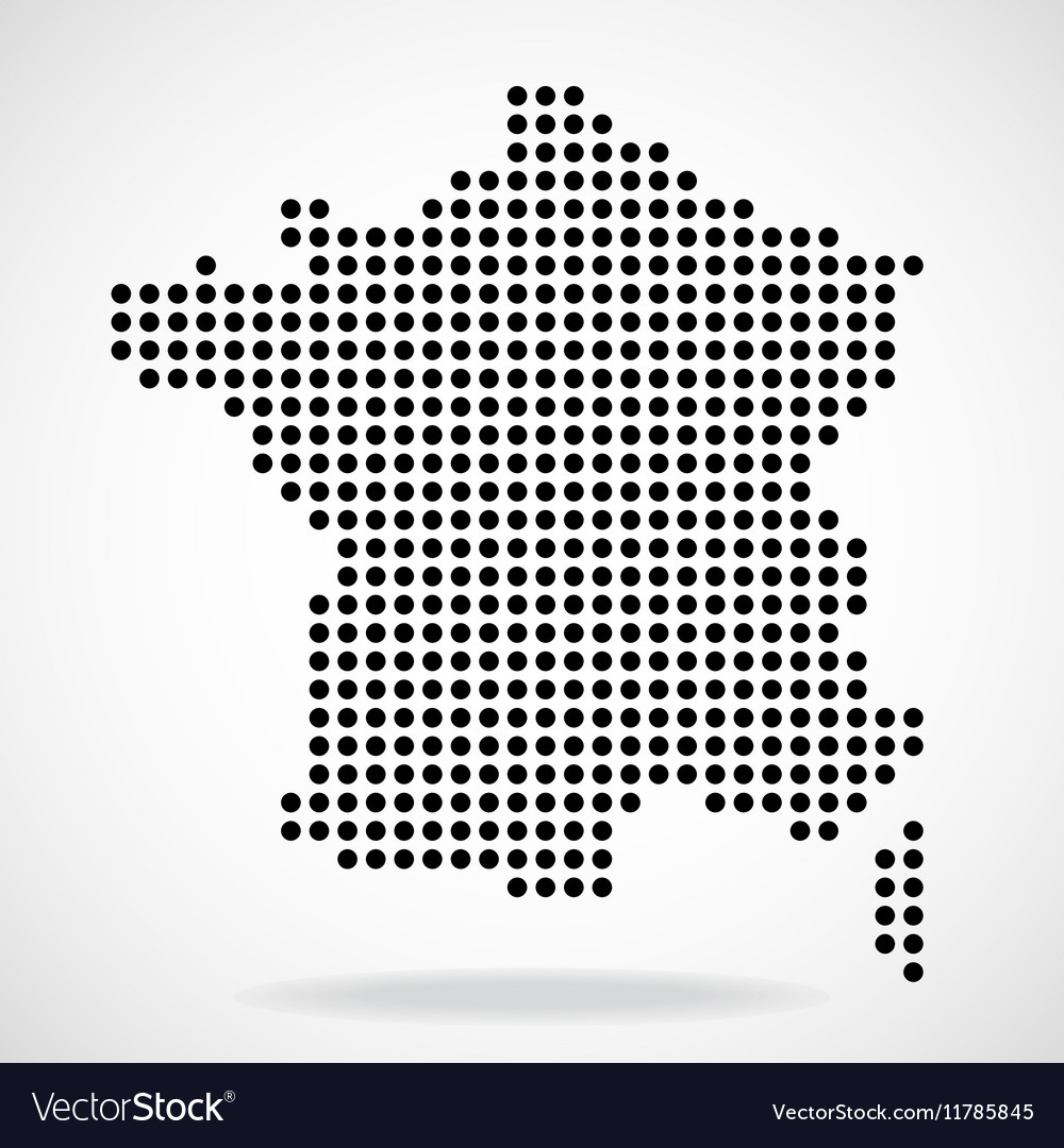 Abstract map of France from round dots