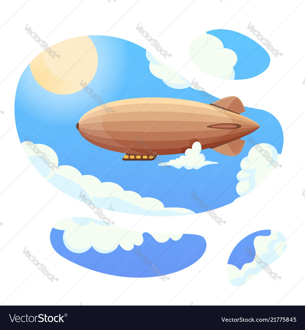 Airship in blue sky and clouds vintage airship