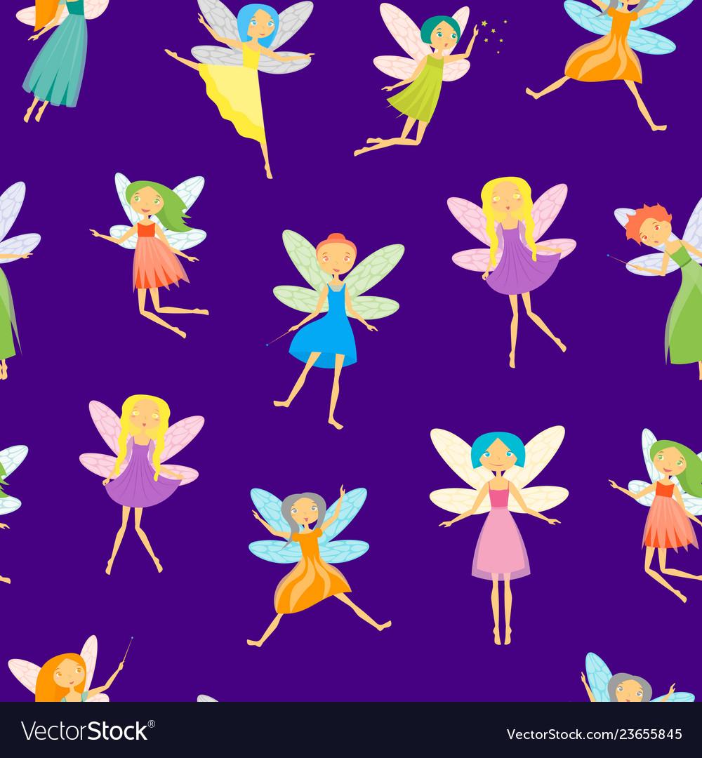 Cartoon characters fairies seamless pattern