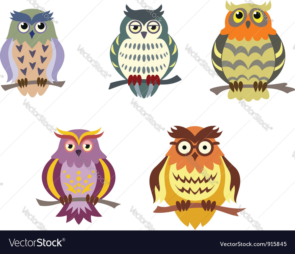 - Color Cartoon Owls Set In Doodle Style Royalty Free Vector