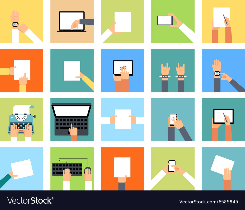 Flat hand icons holding various devices and hands