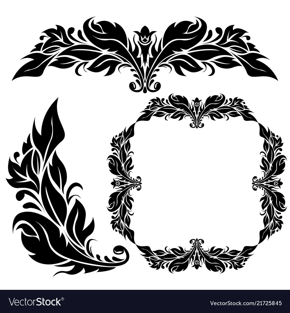 Floral ornamental decorations black filigree