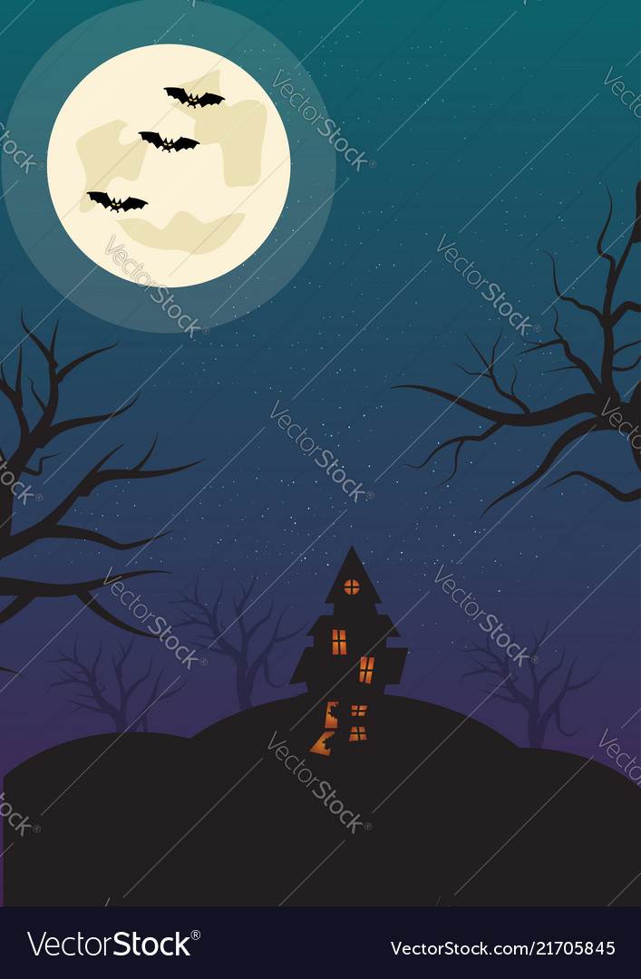 Halloween vertical background with bats haunted