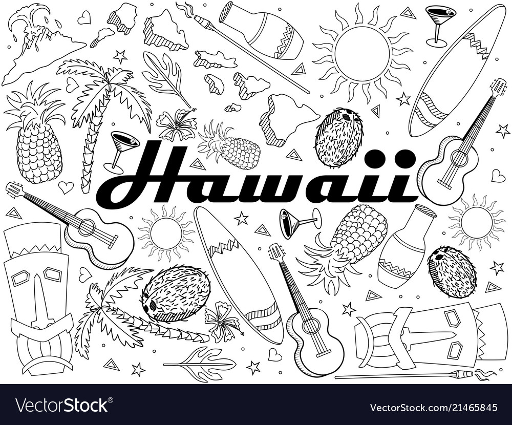 Hawaii coloring book line art design
