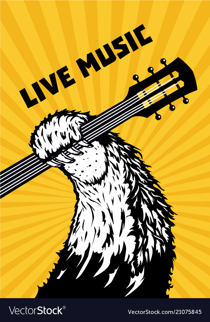 Live music animal paw with guitar musical poster