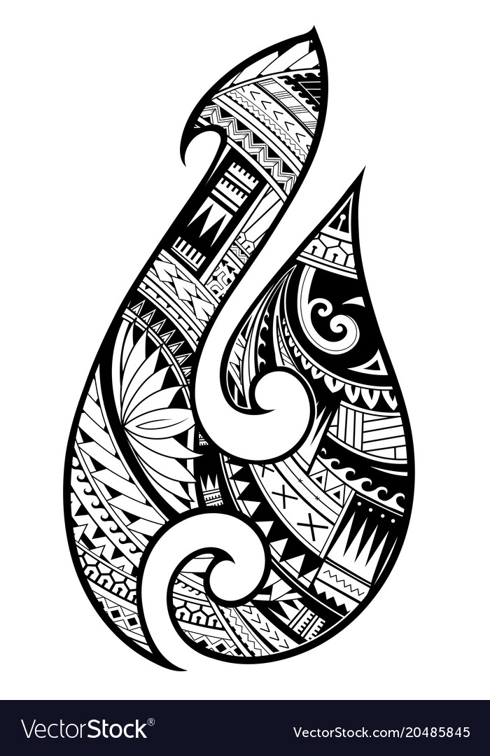 Maori Style Tattoo Aboriginal Fish Hook Symbol Vector Image
