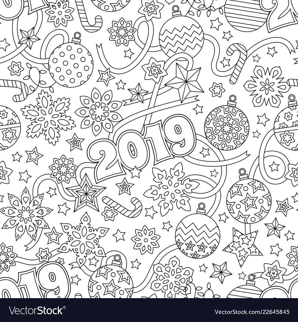 New year 2019 hand drawn outline festive seamless