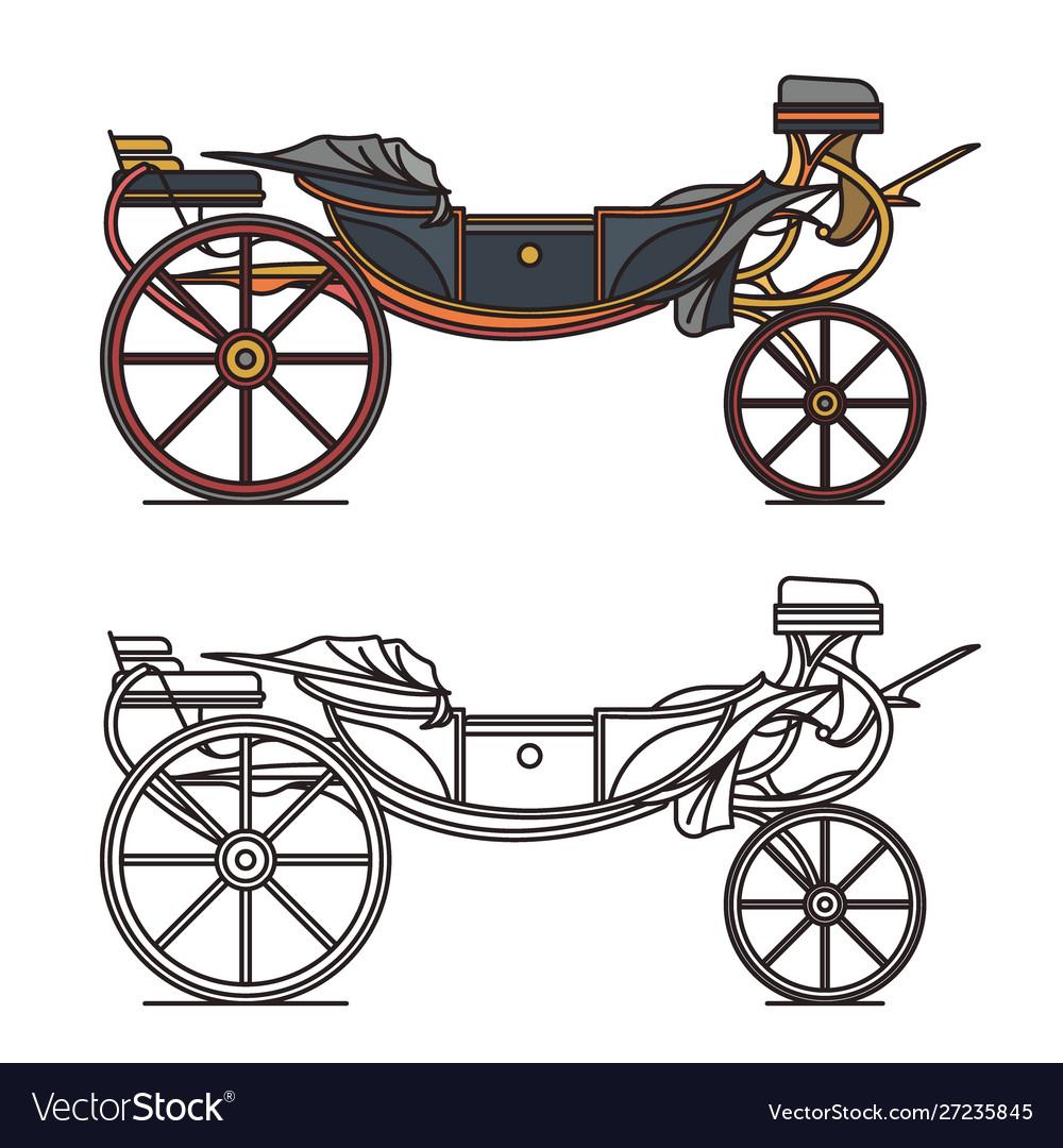 Retro cab or vintage carriage medieval chariot