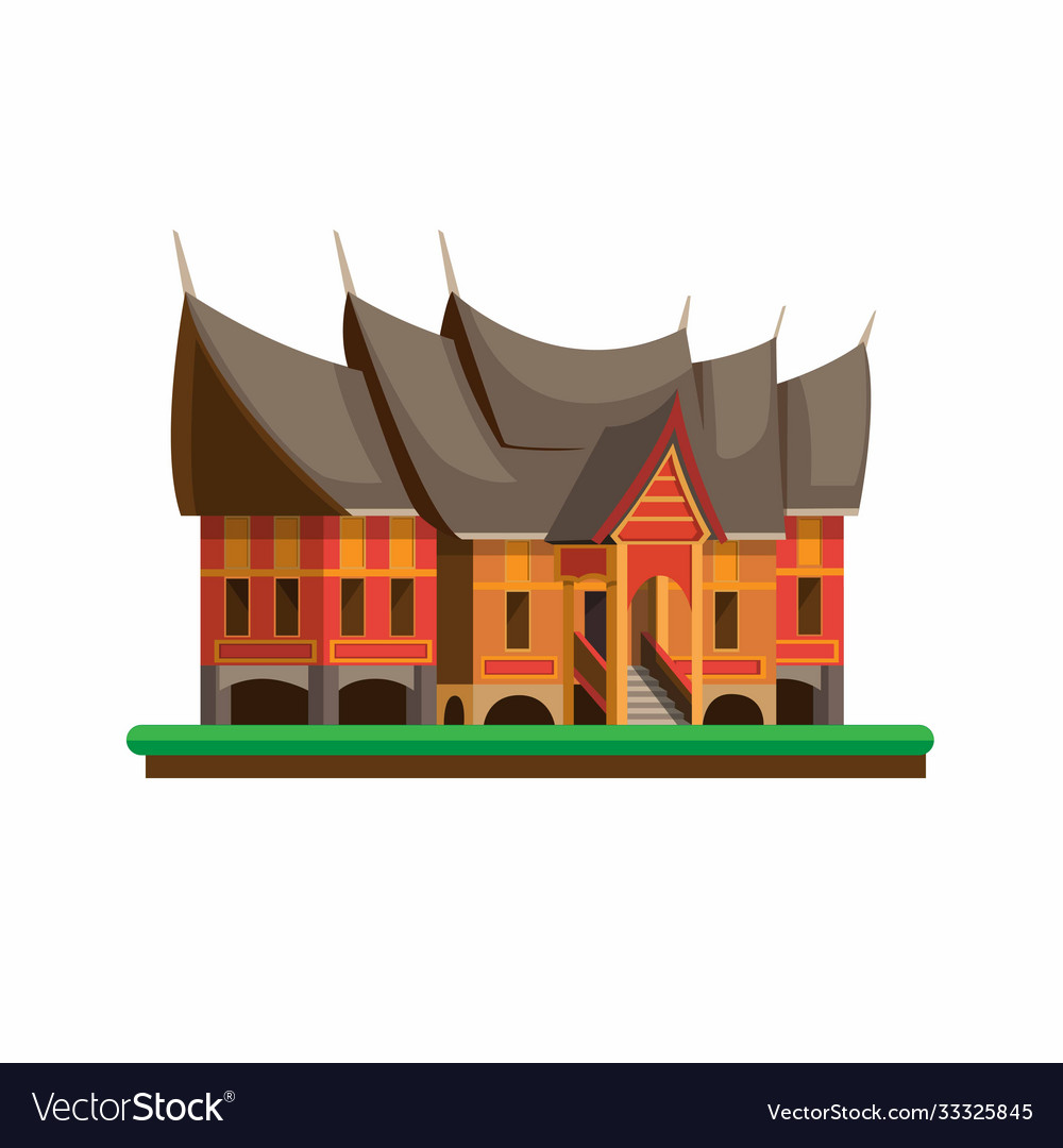 rumah gadang is house for minangkabau people a vector image vectorstock